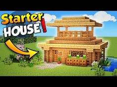 Minecraft - How To Make A Starter House! Today I'm going to show you how to make a nice and easy Minecraft Starter House. This Minecraft Starter House will l. Minecraft Starter House, Casa Medieval Minecraft, Minecraft House Tutorials, Minecraft Houses Survival, Easy Minecraft Houses, Minecraft Houses Blueprints, Amazing Minecraft, Minecraft Tutorial, Minecraft Designs