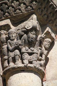 Basilique Saint-Sernin à Toulouse,capitel romanico.  Francia Romanesque Sculpture, Romanesque Art, Romanesque Architecture, Religious Images, Religious Art, Toulouse, Saint Sernin, Carolingian, Masonic Symbols