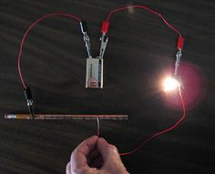 """What's the role of resistance in a circuit? In the """"Sliding Light: How to Make a Dimmer Switch"""" #science project, students turn an ordinary pencil into a hands-on #electricity demonstration as they build a simple dimmer switch and investigate the relationship between resistance in the circuit and the amount of light produced. [Source: Science Buddies, http://www.sciencebuddies.org/science-fair-projects/project_ideas/Elec_p056.shtml?from=Pinterest] #STEM #scienceproject #electronics"""