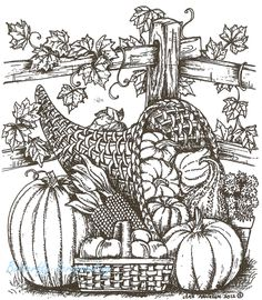 Thanksgiving Cornucopia And Fence, Wood Mounted Rubber Stamp NORTHWOODS - P8703