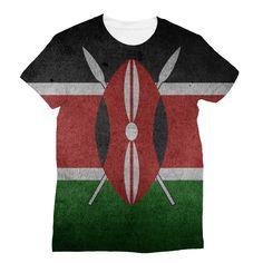 Grunge Kenya Flag Sublimation T-Shirt