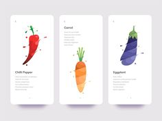 Vegetables designed by Yoga Perdana. Connect with them on Dribbble; Web Design, Resume Design, Layout Design, Branding Design, Logo Design, Flat Design, Vegetable Design, Orange Design, Ui Design Inspiration