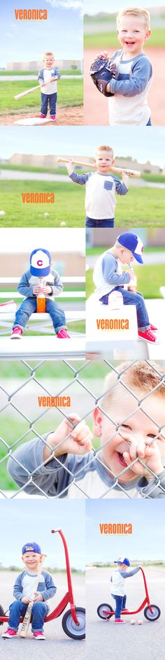 Veronica Reeve Photography: Batter Up...Super cute baseball photo shoot.  I LOVE the one of him holding the bat behind his neck.  Adorable