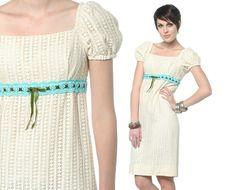 6385fe317b7cc Cream Lace Dress 60s 70s Boho Mini Puff Sleeve Bow Babydoll 1970s Hippie  Crochet Empire Waist Romantic Vintage Peasant Dress Small S