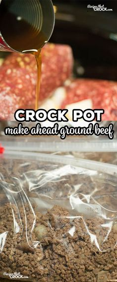 Crock Pot Make Ahead Ground Beef - Recipes That Crock! Crock Pot Make Ahead Ground Beef is perfect to a make tacos, pizzas, casseroles and more! Make a large batch in your slow cooker - freeze for later use! Crock Pot Recipes, Crock Pot Food, Crock Pot Freezer, Crockpot Dishes, Crock Pot Slow Cooker, Freezer Cooking, Beef Dishes, Slow Cooker Recipes, Cooking Recipes