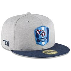 meet ee90d 8ba38 Men s Tennessee Titans New Era Heather Gray Navy 2018 NFL Sideline Road  Official 59FIFTY Fitted