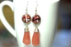 Sterling Silver Strawberry Quartz and Swarovski earrings by KParDesign, $24.99. Modern jewelry