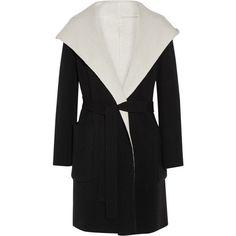 Max Mara Max Mara - Reversible Hooded Wool Coat - Black (£1,580) ❤ liked on Polyvore featuring outerwear, coats, maxmara, hooded wool coat, belted wool coats, shawl collar coats and maxmara coat