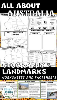 All about Australia - Geography and Landmarks worksheets and factsheets ready to print for your classrom. Geography Activities, Geography For Kids, Geography Map, Geography Lessons, Teaching Geography, World Geography, Geography Worksheets, Dinosaur Activities, American History Lessons