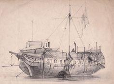 Un sinistre ponton anglais à Chatham, gravure publiée par Charles Tilt à Londres (Collection personnelle)