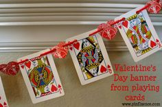 Fun & funky playing card banner.  Hearts are perfect for Valentine's Day but would also be a fun idea for a Poker Night or Blackjack / 21 Birthday party! {This is day 4 of a 5 day series of quick, easy, and affordable Valentine's Day decorating at www.pinfluence.com}