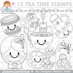 75%OFF - Tea Stamp, COMMERCIAL USE, Digi Stamp, Digital Image, Party Digistamp, Tea Coloring Page, Tea Time Clipart, Tea Graphics, Tea Time