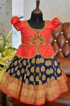 Baby pattu pavada designs by angalakruthi bangalore just born baby girl pure sil Mom And Baby Dresses, Kids Party Wear Dresses, Kids Dress Wear, Kids Gown, Dresses Kids Girl, Girls Frock Design, Baby Dress Design, Baby Frocks Designs, Kids Frocks Design