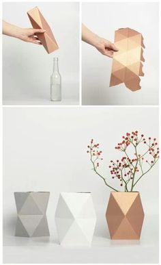 Origami geometric decoration 65 ideas for 2019 Paper Vase, Diy Paper, Paper Crafting, Diy Candle Holders, Diy Candles, Floating Candles, Flower Arrangements Simple, Flower Vases, Diy Flowers