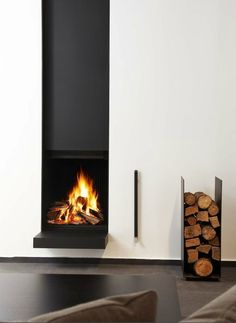 Clean fireplace + wood storage object.