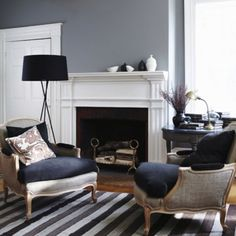 Love the grey walls, the white trim and the navy blue accents