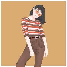 Aesthetic Drawing, Aesthetic Art, Illustration Girl, Character Illustration, Character Design Animation, Character Art, Sarra Art, Yellow Photography, Human Art