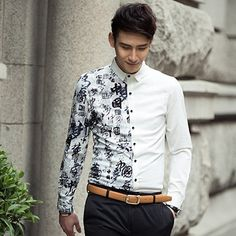 Unique!!! 2014 New Chinese Writing Embellished Cool Men Slim Fit Office Party Club Dress Shirt Fashion Style Black White $24.56