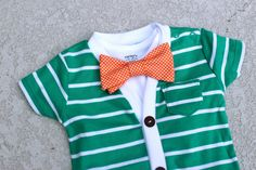 Cardigan and Bow Tie Onesie Set - Green with Orange Gingham - Trendy Baby Boy - Perfect for Spring Shower. $40.00, via Etsy.