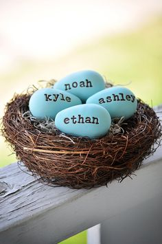 Adorable idea for an Easter decoration. Make an egg for each member of the family. I think it would look cuter with different coor eggs for each name:)
