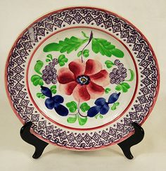 """Spongeware plate, probably Welsh. CIRCA: Mid/Late 19th Century DIMENSIONS: 10.5"""" d"""