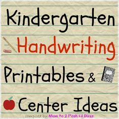 Mom to 2 Posh Lil Divas: Kindergarten Handwriting Practice Activities and Centers. Lots of great ideas here!