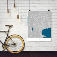Baku City Map with water  Printable Download jpg by MCartography