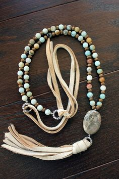 Long Chunky Leather and Beaded Tassel Necklace by BuckskinBetty