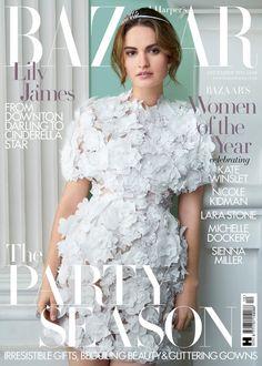 Lily James for Harper's Bazaar UK December 2015 cover - Ralph & Russo