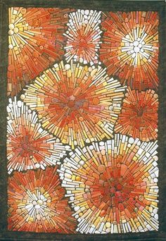 Mieke Gootjes - This gorgeous quilt looks as though it is made of glass tiles. Great inspiration for a mosaic Paper Mosaic, Mosaic Art, Mosaic Glass, Stained Glass, Glass Art, Glass Tiles, Geometric Patterns, Quilt Patterns, Art Textile