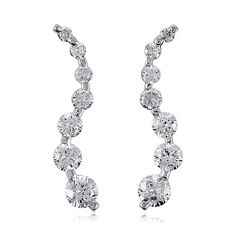 Sterling Silver 925 7 Stone Cubic Zirconia CZ Curved Journey Earrings from Berricle - Price: $36.99