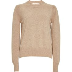 Rosetta Getty Oatmeal Cashmere Merino Cropped Crewneck Sweater ($640) ❤ liked on Polyvore