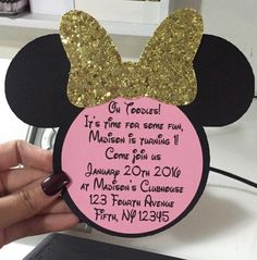 Minnie Mouse Invitations: Pink & Gold Theme - YouTube More