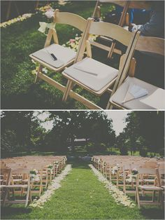 Backyard wedding ideas. Provide fans on a hot day for guests.