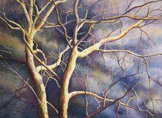 Sycomore arbre art aquarelle imprimé by Cathy Hillegas, imprimer 8 x 10, aquarelle, ciel orageux, crème, blanc, bleu, violet, jaune, brun