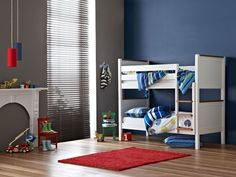 My little boys, big boy bed :)  Options Single Bed Bunk Frame.       Versatile design - can be seperated into two single beds      Perfect for your kids bedroom