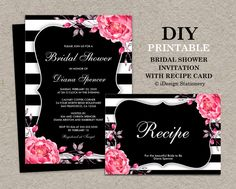 Black & White Stripe Bridal Shower Invitations With Recipe Cards by iDesignStationery on Etsy