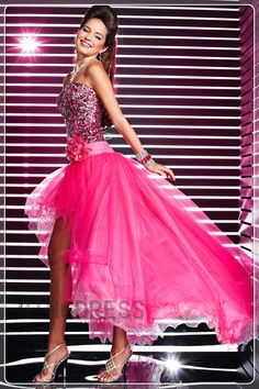 Sequin Flower High Low Prom Dress