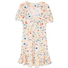 MANGO Floral pattern dress ($80) ❤ liked on Polyvore featuring dresses, vestidos, pink dress, short sleeve floral dress, flower print dress, short sleeve dress and low cut dresses