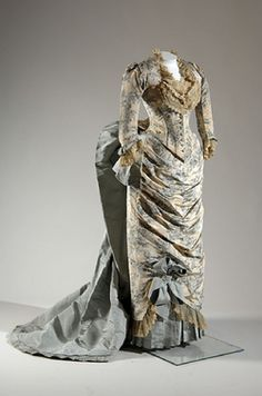 "historiful:  Evening gown, designed by Charles Frederick Worth (1825-1895), 1883.  ""The young Fannie Farwell was only nineteen in 1883 when she traveled by horse-drawn carriage, train, and steamship to Paris to have this gown made for her by Charles Frederick Worth, the ""father of couture."" In the late nineteenth century, many wealthy families took grand European tours that involved visits to the best European fashion houses. These visits were often scheduled at the beginning of the trip to…"