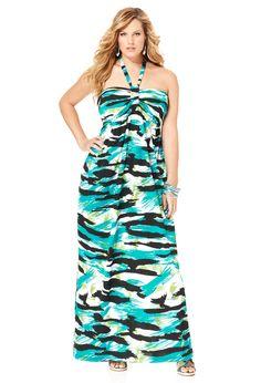 Plus Size Blue Zebra Print Halter Maxi Dress   Plus Size Maxi Dresses   Avenue