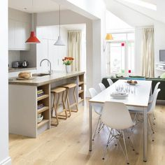 Open-plan dining area | Contemporary grey kitchen-diner | Makeover | PHOTO GALLERY | Ideal Home | Housetohome.co.uk