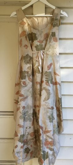 Dupion silk with rose, eucalyptus and geranium leaf prints