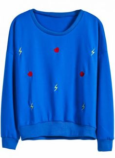 Blue Long Sleeve Heart Lightning Embroidery Sweatshirt pictures