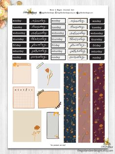 Moon and Magic - Printable Journal Kit Bullet Journal Writing, Bullet Journal School, Bullet Journal Ideas Pages, Bullet Journal Inspiration, Bullet Journal Printables, Printable Planner Stickers, Journal Stickers, Scrapbook Stickers, Calendar Templates