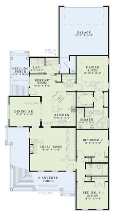 First Floor Plan of Country Farmhouse House Plan 82020