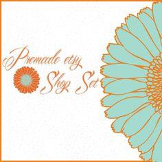 Premade Etsy Shop Banner Avatar Image Set - Orange and Turquoise Flower