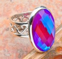 WELCOME TO CINDERELLA'S REVENGE  ~Home of Very Cool Stuff at even Cooler Prices Sold to the Coolest People~  MIND BLOWING 8.5 CTWPINK RAINBOW MYSTIC TOPAZIN A SETTING OF HALLMARKED SOLID 925 STERLING SILVER~SIZE 6 &1/4.THIS RAINBOW MYSTIC TOPAZ E...