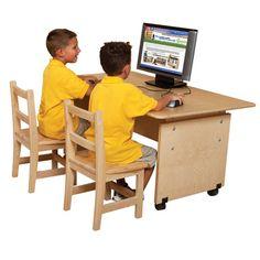 Wood Designs 41560 Adjustable Height Computer Table 60 In. Standing Desk Height, Classroom Desk, America Furniture, School Furniture, Library Furniture, Adjustable Height Desk, Desk Set, Wood Desk, Drawer Handles