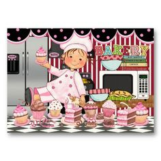 Shop The Happy Chef / Caterer / Bakery - SRF Business Card created by sharonrhea. Bakery Business Cards, Business Card Size, Baking Logo Design, Kitchen Artwork, Cupcake Bakery, Pastry Art, Kitchen Pictures, Cupcakes, Decoupage Paper